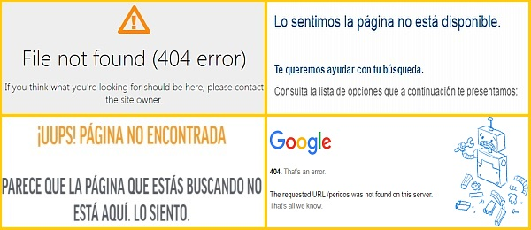 Error 404 página no encontrada file not found