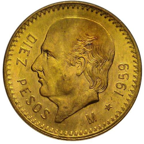 Diez pesos mexicanos 1959 oro