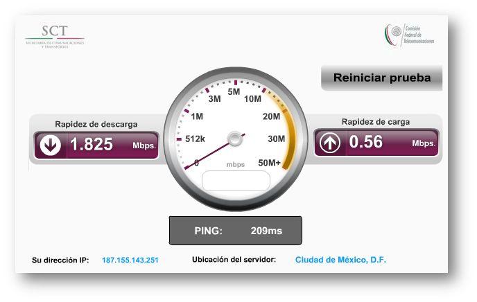 Medición de velocidad de internet con miCofetel
