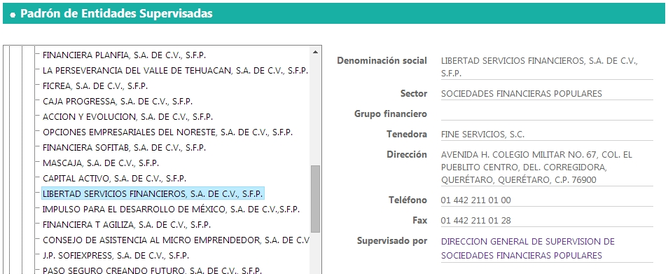 Libertad Servicios Financieros SFP