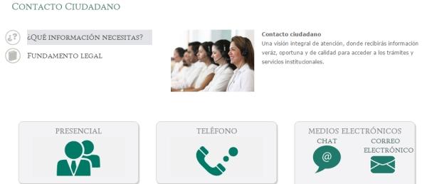 Página de Contacto del IMSS