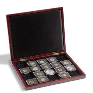 Estuche madera para colección de monedas